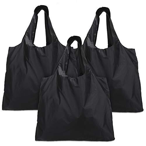 Luxja Einkaufstasche faltbar, einkaufsbeutel Wiederverwendbare, Faltbare einkaufstaschen mit angebrachtem Beutel, Waschbar, Dauerhaft und Leicht, 3 Stück, Schwarz