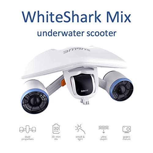 Sublue Elektrischer Unterwasserscooter WhiteShark Mix Tiefe 40 Meter Batterie 122 Wh Geschwindigkeit Betrieb 30 min Tauchen Strand Sommer Schnorcheln Urlaub Meer Freistil Erwachsener Weiß 845339