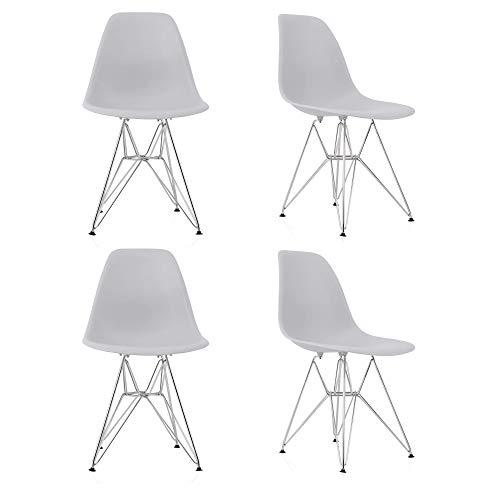 GroBKau Set di 4 Sedie da Pranzo con Base in Metallo, in Plastica Modellata, con Gambe in Acciaio, Grigio