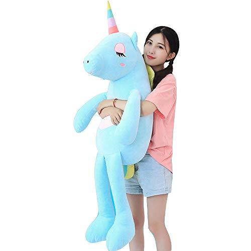 VineCrown Dulce Unicornio Felpa Juguete Lindo Peluche Almohada Suave Novia como Regalo de cumpleaños (85cm, Azul)