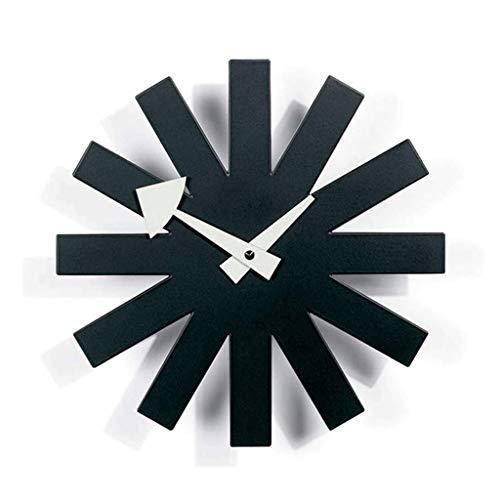 YYL Nelson clock Nelson Clock, Black Wall Clock Metal Silent Wooden Decorative Modern Silent Wall Clock, Battery Operated Wall Clock Pop Color Quartz Clocks for Home