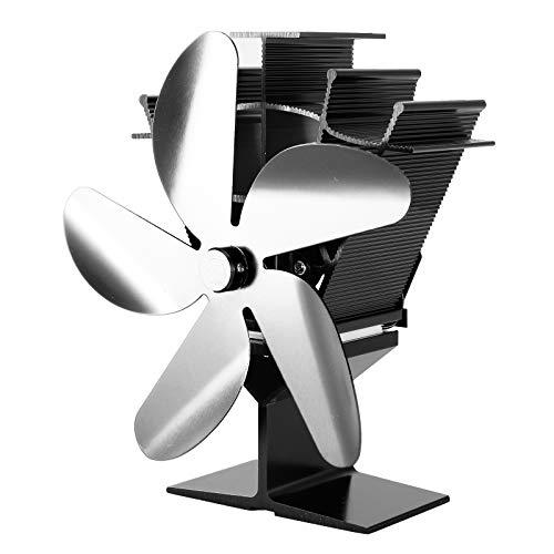 MISHITI 201S Ventilador de Estufa de 5 aspas accionado por Calor para Quemador de leña Calentador Chimenea Ecofan