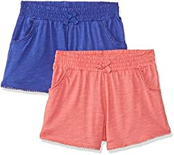 Mothercare Girls  Regular Fit Cotton Shorts (Pack of 2)