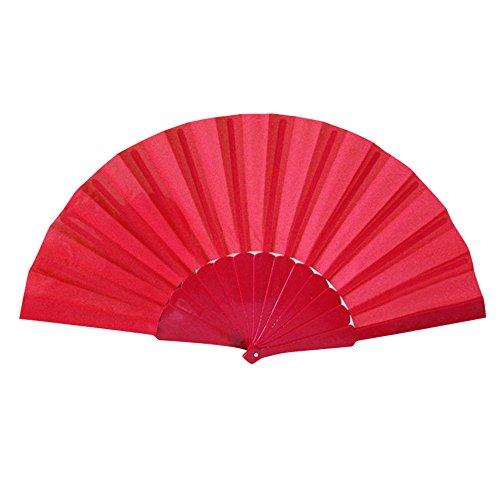 Winkey - Abanico de Mano (23 cm, Seda, Plegable), Rojo