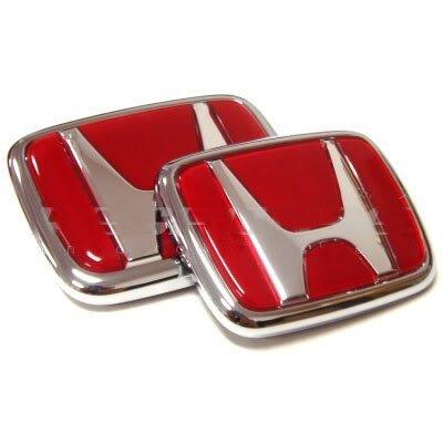 WZ 2pcs Red Logo Front Rear Emblem Set for JDM Acura RSX Integra Quint RS, LS, GS, GS-R, Type-R,