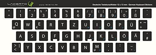 Lacerto® | 12x13mm Deutsche Tastaturaufkleber für PC & Laptop, mit mattem Schutzlaminat | Farbe: Schwarz