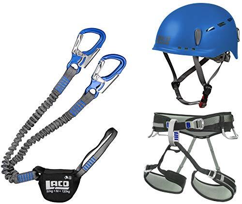 LACD Klettersteigset Pro Blue + Gurt Start Größe S + Klettersteig-Helm Protector Blue