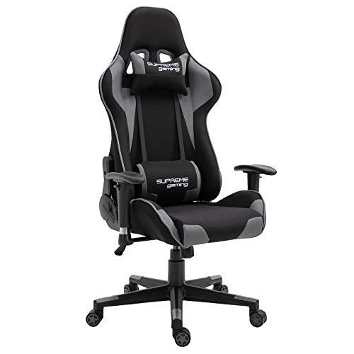 CARO-Möbel Gaming Stuhl Boost in schwarz/grau, ergonomischer Drehstuhl mit Stoffbezug, Racer Racing Bürostuhl mit verstellbaren Armlehnen