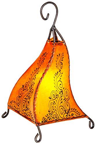 Orientalische Tischlampe Rahaf 35cm Lederlampe Hennalampe Lampe | Marokkanische kleine Tischlampen aus Metall, Lampenschirm aus Leder | Orientalische Dekoration aus Marokko, Farbe Orange