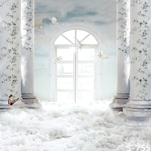 White Heaven Palace - Fondo de estudio fotográfico (1,5 x 2,4 m), diseño de texto en inglés