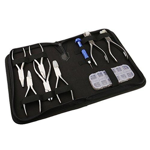 Sharplace Feinmechaniker Optiker Werkzeug mit Schraubendreher, Mini Schrauben und Brille Reparatur Zange