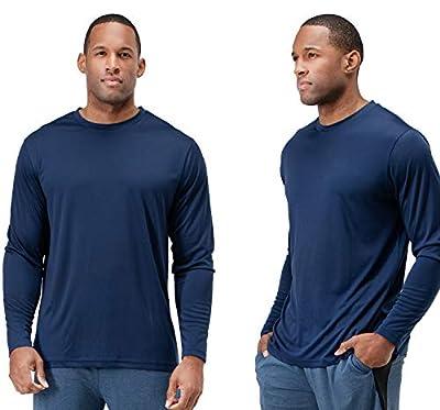 DEVOPS Men's 2 Pack UPF 50+ Sun Protection Long Sleeve Dri Fit Fishing Hiking Running Workout T-Shirts (Large, Navy)