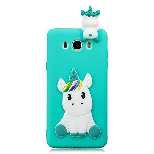 Funda para Samsung Galaxy J7 2016 Silicona 3D Suave Flexible TPU Carcasa Samsung J7 2016 Ultra Delgado Mate Gel Tapa Antigolpes Goma Case Ultrafina Kawaii Protectora Bumper - Verde Unicornio
