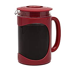Primula Burke Deluxe Cold Brew Iced Coffee Maker, Comfort Grip Handle, Durable Glass Carafe, Removable Mesh Filter, Perfect 6 Cup Size, Dishwasher Safe, 1.6 Qt, Red