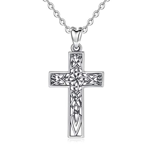 INFUSEU Celtic Cross Necklace Women Vintage 925 Sterling Silver Pendant Neckless Faith Simple Irish Knot Ladies Oxidized Jewelry