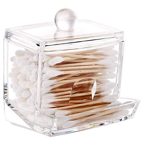 Drawihi Petite boîte de rangement en plastique transparent pour coton-tiges ou carrés de coton, pour hôtel