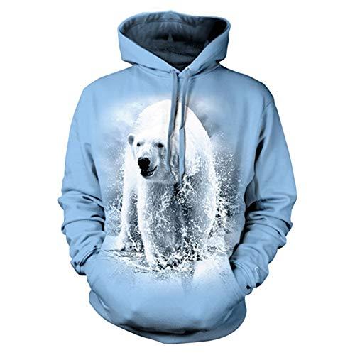 Mode Männer Frauen Coole Sweatshirt Hoodies Männer Frauen 3D-Druck niedlich Eisbär grau Streetwear Langarm-Kleidung, L