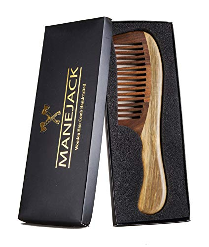 "Sandalwood Hair Comb 7.6"" Wide Tooth Woodden Comb for Thick Curly Hair - Detangling Comb for Women and Men"
