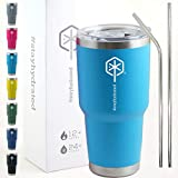 Stayhydrated 30oz Vacuum Insulated Tumbler Double Wall Coffee Cup with Lid & 2 Straws Travel Mug (30oz, Pacific Blue) | Keeps Liquids Hot or Cold with Double Wall Vacuum Insulated