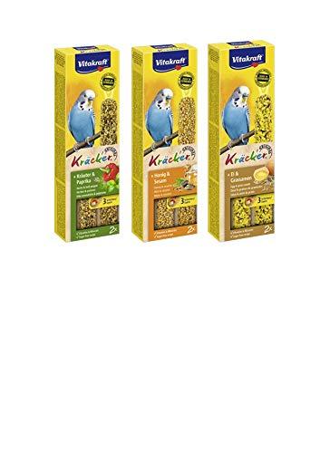 Vitakraft- Kräcker 3St. Vogel für Sittiche je 1x Kräuter, Ei, und Sesam WS (1,66/Pack)