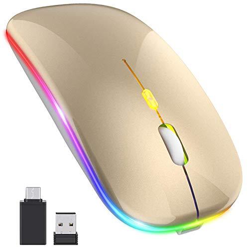 Gaoominy [Actualización Ratón Inalámbrico Led, Ratón óptico de Oficina Móvil con Receptor USB y Tipo C, para Portátil, (Dorado)
