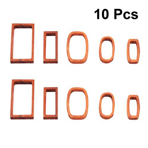 Artibetter 10 Stücke Offene Lünette Charme Anhänger Leere Rahmen Holz Hohlform Anhänger für Uv Harz Handwerk Halskette Armband Schmuck Machen