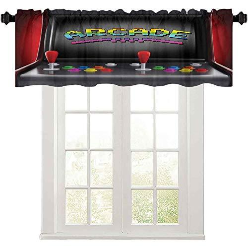"Kitchen Valance, Arcade Machine Retro Gaming Fun Joystick Buttons Vintage 80s 90s Electronic, 50"" W x 18"" L Kitchen Valances for Windows, Multicolor"