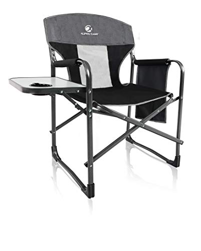 Camping World Heavy Duty Steel Folding Oversize Camping Director Chair with Side Pockets and Side Table