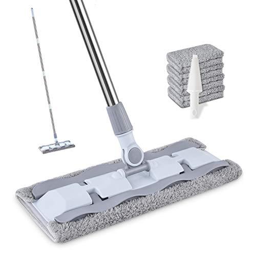 モップ フロアモップ 回転モップ 4枚付き「取り替えクロス」 マイクロファイバー 片手で操作可能 腰曲げず 掃除・清掃・床掃除