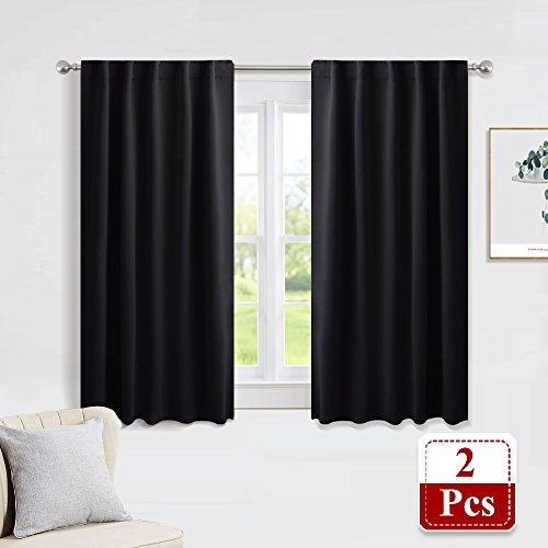 PONY DANCE Blackout Curtain Set - Nursery Panels Thermal Insulated Window Treatments Back Tab/Rod Pocket Light Blocking Drapes Bedroom, 42 Wide 45 inch Long, Black, Two Panels