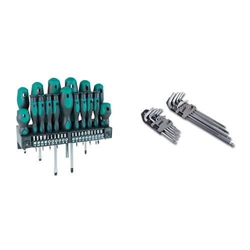 MannesmannM1141537 piezas Destornillador + juego de puntas + M18170Juego de llaves allen hexagonales y de punta Torx (18 unidades)