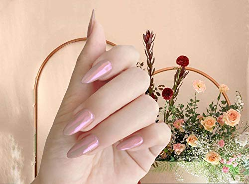 BABALAL Stiletto Fake Nails, 24Pcs Pink Mirror Effect Chrome False Nails Party Press on Nails for Women and Girls