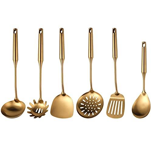 MRDUEWS 6PCS 304 Stainless Steel Kitchen Utensil Set, Gold Kitchen Utensil Set, Soup Ladle, Skimmer Spoon, Slotted Spatula, Spaghetti Server and Rice Scoop Spoon