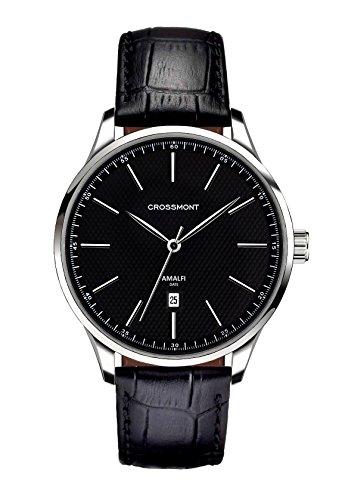 Crossmont, orologio da uomo, al quarzo, quadrante nero, display analogico e cinturino in pelle nero