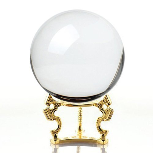Amlong Crystal Clear Clear Crystal Ball Sphere 110mm (4.2 inch) with Golden Dragon Stand in Gift Package