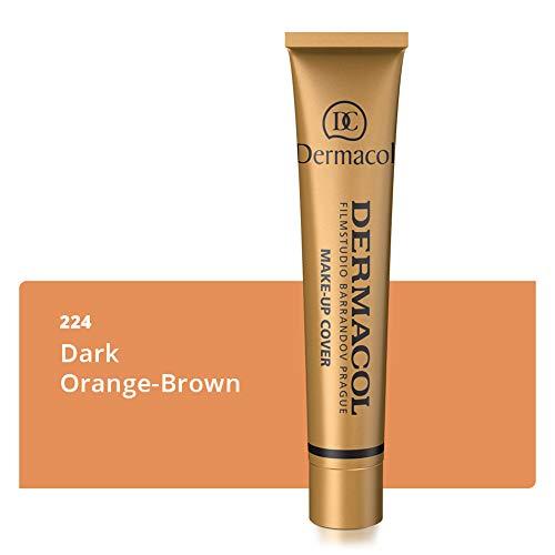 Dermacol DC Base Makeup Cover Total | Maquillaje Corrector Waterproof SPF 30 | Cubre Tatuajes, Cicatrices, Acné, Imperfecciones, Manchas en la Piel de la Cara y Cuerpo | Liquido - Mate Natural - 30g (224)
