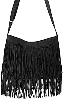 69eb27be61b5 Hoxis Tassel Faux Suede Leather Hobo Cross Body Shoulder Bag Womens Sling  Bag