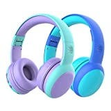 gorsun Bluetooth Kids Headphones with Microphone,Children's Wireless Headsets with 85dB Volume Limited Hearing Protection,Stereo Over-Ear Headphones for Boys and Girls (Purple+Blue)