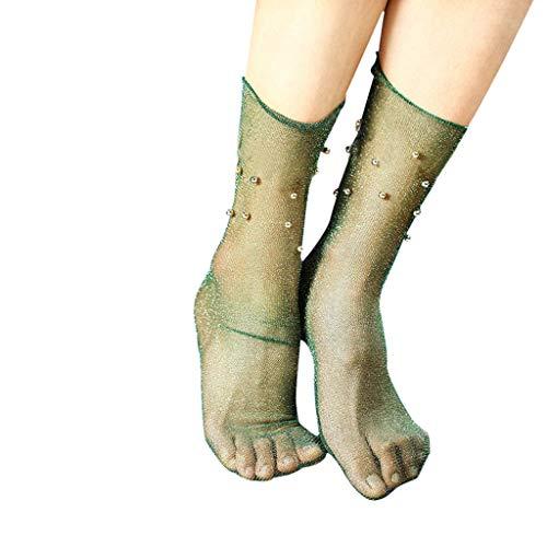 Lenfesh Socken mit Glitzer Atmungsaktive Socken mit Rüschen Frauen Fischnetz knöchelhohe Ineinander greifen Spitze Fischnetz helle silberne kurze Socken
