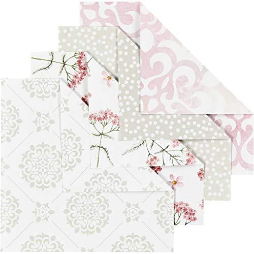 Papel Origami, medidas 10x10 cm, 80 gr, verde, gris, blanco, rojo claro, 40hoja