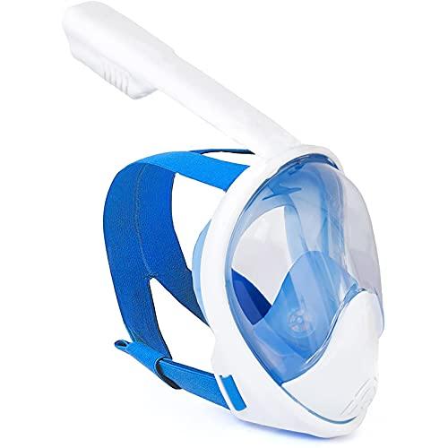 NZQK Máscara de esnórquel de cara completa y máscara de buceo con campo de visión panorámico de 180°, impermeable, a prueba de niebla y a prueba de fugas S/M