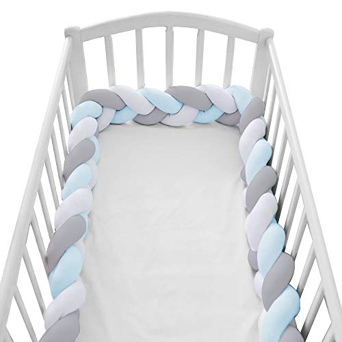 Wonder Space Soft Knot Plush Pillow - Braided Baby Crib Bumper, Fashion Nursery Cradle Decor for Baby Toddler and Childern (Blue/Grey/White, 158IN / 4M)