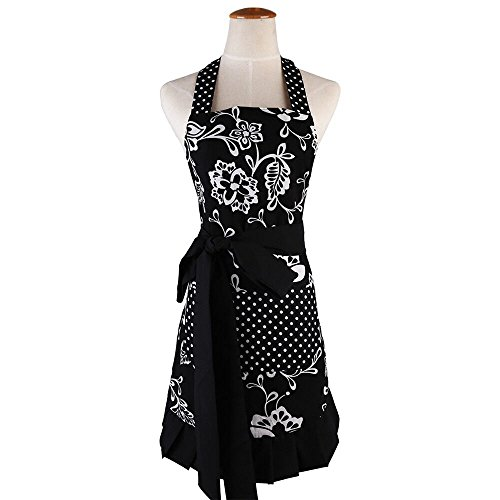 Aprons for Women with Pocket, Vintage Flower Apron with Adjustable Strap, Lovely Flower Kitchen Apron for Baking, BBQ and Gardening, 28x27 inch