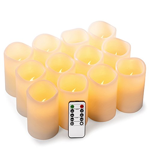 Enpornk Set of 12 (D:3' x H:4') Flameless Candles Battery Operated LED Pillar Real Wax Electric Candles with Remote Control Cycling 24 Hours Timer