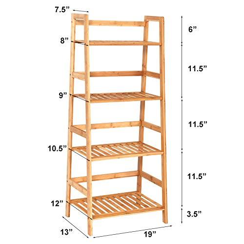 Venloup Premium 4 Tier Ladder Shelf Bamboo Plant Stand, Multifunctional Storage Rack Bookcase, Indoor Outdoor Flower Shelves, for Living Room, Bathroom, Balcony