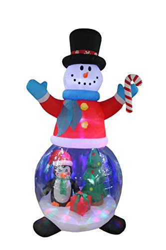 8 Foot Tall Christmas Inflatable Snowman Globe with Penguin and Gift Box Christmas Tree Decor Outdoor Indoor Holiday Decorations, Blow Up LED Lighted Yard Decor, Giant Lawn Inflatable for Home Family