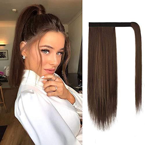 BARSDAR Pferdeschwanz Extensions 35 cm kurze gerade Pferdeschwanz Haarverlängerung Zopf HaarteilPferdeschwanz für Frauen 12H24Braun & Blond