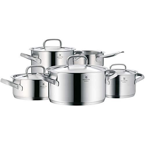 WMF Gourmet Plus Topfset Induktion 5-teilig, Kochtopf Set mit Metalldeckel, Cromargan Edelstahl mattiert, Töpfe Set unbeschichtet, Innenskalierung