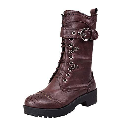 LILIHOT Motorrad Stiefel Damen Mode Combat Boots Klassische Lederstiefel Freizeit Schnürstiefel Vintage Winterstiefel Herbst Winter Ankle Boots Seitlichem Reißverschluss Stiefeletten
