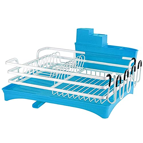HFTD Rejilla para Platos Rejilla para secar Platos, Rejilla para Platos y escurridor a Prueba de óxido, Escurridor de Platos con Pico Giratorio, Cubiertos y Portavasos (Color: Café)